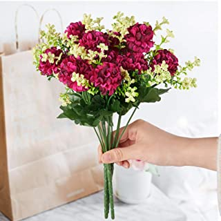 FSALS Hydrangeas Artificial Flowers 4 Bouquets 5 Heads Mini Fake Silk Ball Daisy Flower with Plastic Stem f...