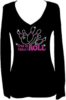 Rockeroo Boutique Bowling Rhinestone Funny V Neck Long Sleeve Tee Shirt