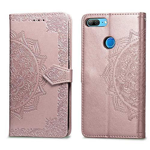 Bear Village Hülle für Huawei Honor 9, PU Lederhülle Handyhülle für Huawei Honor 9, Brieftasche Kratzfestes Magnet Handytasche mit Kartenfach, Roségold