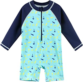 Swimwear Bathing Suit FEESHOW Baby Toddler Boys One Piece Shark Printed Rash Guard Swimsuit UPF 50
