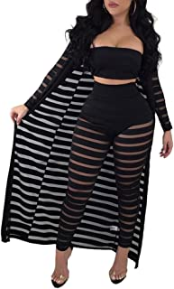Women Sheer Mesh Tube Top Long Pants Bodycon 3 Piece Cardigan Outfits Jumpsuits Set