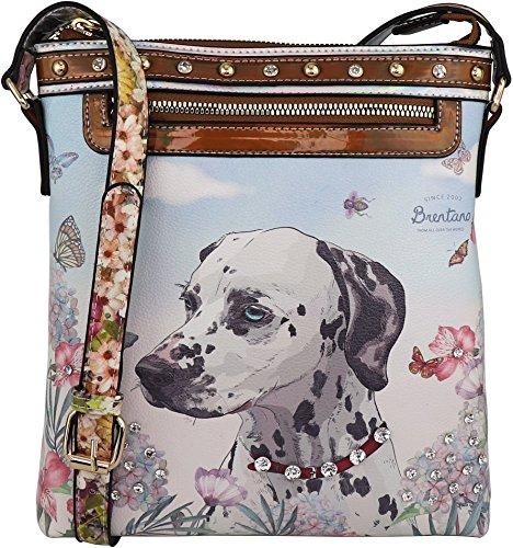 B BRENTANO Vegan Cute Animal Graphic Crossbody Bag Purse with Rhinestones (Garden Dalmatian)