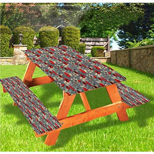 Mantel ajustable para mesa de picnic y banco de amapolas, moderno, con borde elástico de jardín, 70,8 x 172,8 cm, juego de 3 piezas para camping, comedor, al aire libre, parque, patio