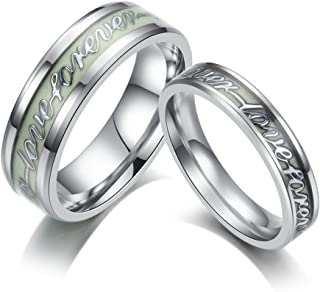 Luminous Glow in The Dark Fashion Women Men Forever Love Couples Promise Titanium Engagement Wedding Band for Unisex