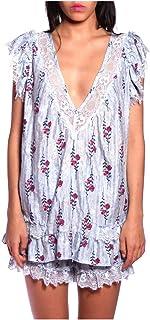 Anna Sui Women'S Cornflower Long Stem Roses Lace Trim Top