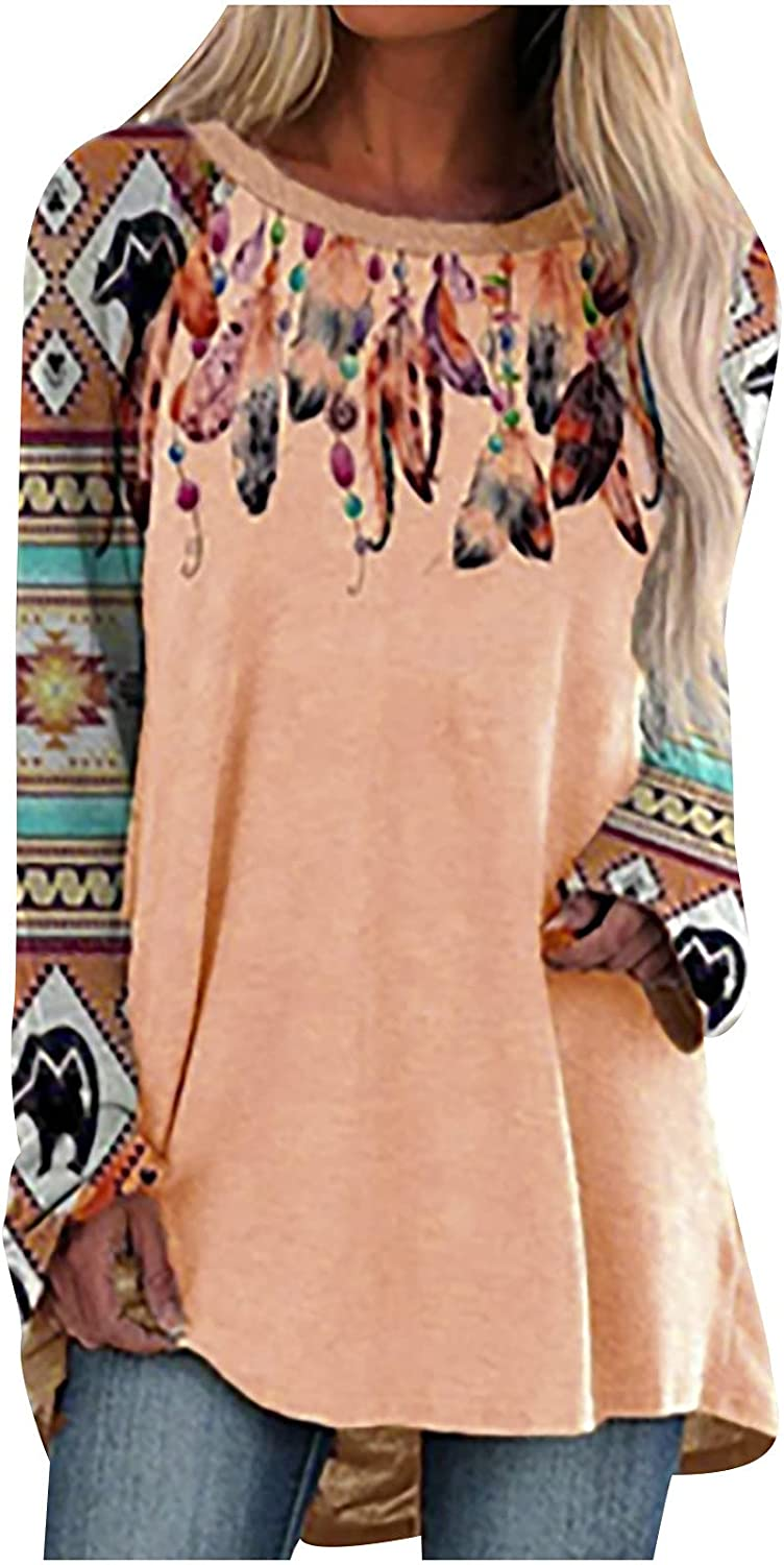 Womens Long Sleeve Tops, Women's Ladies O-Neck Loose Tops Casual Print T-Shirts Long Sleeve Blouse