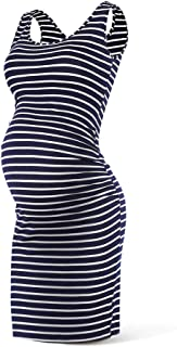 Women Summer Sleeveless Maternity Dress Pregnancy Tank Scoop Neck Mama Clothes Casual Bodycon Clothing