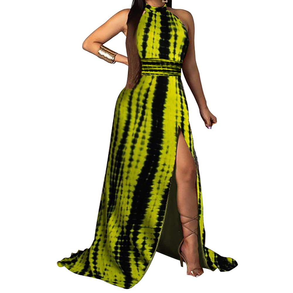 Available at Amazon: HHIMNO Women's Sexy Sleeveless High Neck Tie Dye Backless Maxi Dresses Split Casual Long Dress