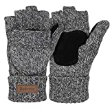 Bodvera Thermal Insulation Fingerless Texting Gloves Unisex Winter Warm Knitted Convertible Mittens with Flap Cover LG