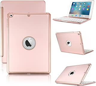 KVAGO Teclado Funda para Nuevo iPad 2018/2017 9.7, Smart Hard Shell Folio Cover con 7 Colores Bluetooth Retroiluminación Keyboard y Auto Sleep/Wake Function para Nuevo iPad 9.7 2018/2017, Rosa Oro