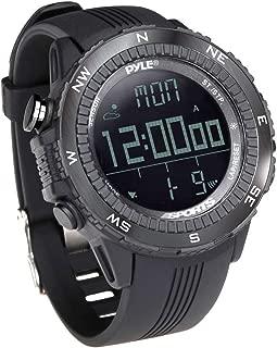 Digital Multifunction Sports Wrist Watch - Smart Fit Classic Men Women Sport Running Training Fitness Gear Tracker w/ Altimeter, Barometer, Compass, Timer, Weather Forecast - Pyle PSWWM82BK (Black)
