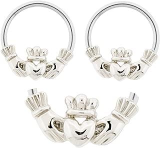 Pair of Claddagh Hands & Heart Irish Friendship & Love Captive Bead Ring Lip, Belly, Nipple, Ear, Earring Hoop 12g