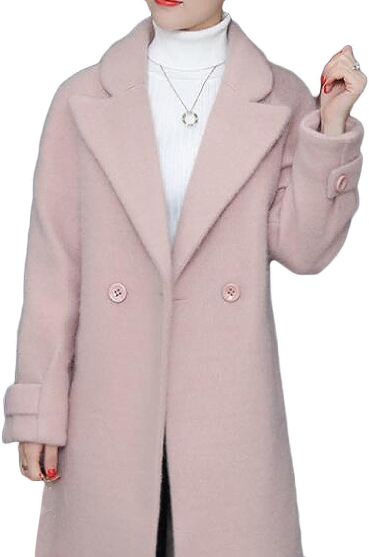 CoolredWomen Wool Long Coat Lapel Solid color Woolen Jacket