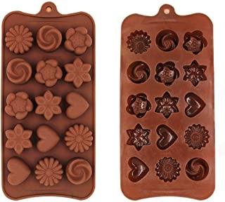 TruVeli Chocolate Silicon Mould, Different Chocolate Molds, DIY Cake Soap Ice Cream Candy Jelly molds (Pack of 2, Random D...