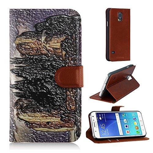 Arnold Bocklin - Island Of The Dead Ones, Marrone Portafoglio Magnetico Custodia in Pelle con Funzione di Appoggio Borsa con Disegno Strutturato per Samsung Galaxy S5 i9600