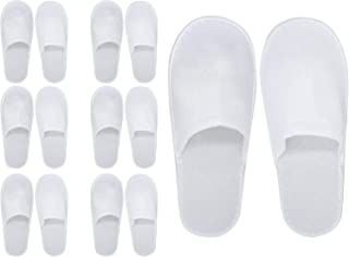 Spa Slippers - 7 Pairs of Cotton Velvet Closed Toe Slippers with Travel Bags - Thick, Soft, Non-Slip, Disposable Slippers ...