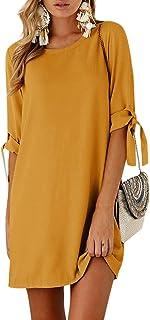 FIYOTE Damen Kleider V-Ausschnitt Sommerkleid Lange /Ärmel Strandkleid Boho Freizeitkleider T-Shirt Kleid 3 Farbe S//M//L//XL//XXL