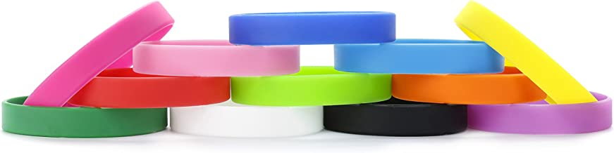 Silicone Wristbands Rubber Bracelets Charms Adult 12Pcs Mixed Colors Blank Sports Bands for Woman Men Assorted 12 Colors Customizable