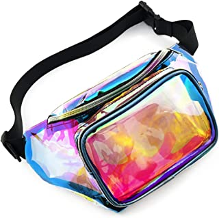 Holographic Fanny Pack, BuyAgain Neon Waterproof Cute Iridescent Fanny Packs For Women Men Festival With Adjustable Waist Belt