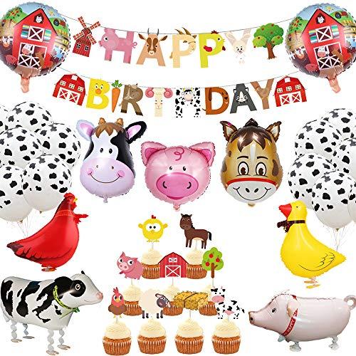 JeVenis 29 piezas de animales de granja decoración de cumpleaños animales de granja banner de cumpleaños animales de granja suministros fiesta globos de vaca para animales cumpleaños niños