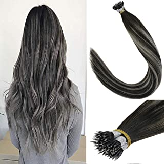 LaaVoo 18 Inch Nano Stick Beads Remy Human Hair Extensions Silkly Straight Nano Fusion Hair Balayage Color Off Black and Gray Silver 1g/s 40g+10g for free,50g/pack in Total