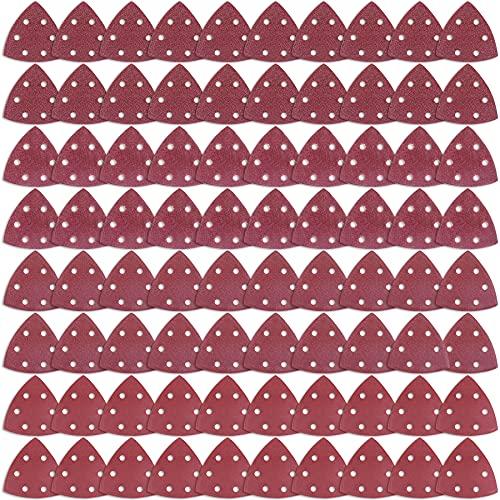 AUSTOR 80 Piezas Papel de Lija Triangular Hojas de Lija Triangulares Granos 60/80/120/240 para Lijado y Pulido