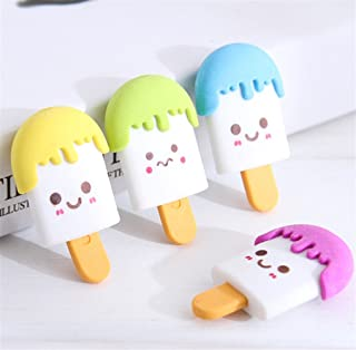 Un ncie Useful School Supply Sets 4 Pcs Cute Ice Cream Erasers Rubbers(Random Color)