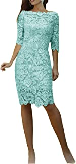 Half Sleeve Lace Mother of The Bride Dresses Knee Length Formal Party Gowns