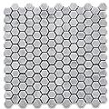 Carrara White Italian Carrera Marble Hexagon Mosaic Tile 1 inch Honed