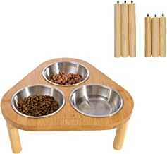 Miss Meow Raised Cat Dog Bowls with Stand Feeder, Elevated Bamboo Stand with 3 Ceramics/Stainless Still Bowls, Anti Slip and Removable Feet.