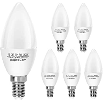 Aigostar Pack de 5 Bombillas LED E14 7W (Equivalente a 40W), 560 ...