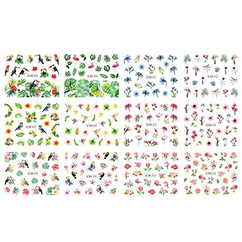 Anself Ensemble Nail Autocollants à Ongles Fleur de Flamant Rose de Marguerite D'été Mélangé Pointe de Papier à Ongles Manucure de Filigrane Bricolage 1 feuille