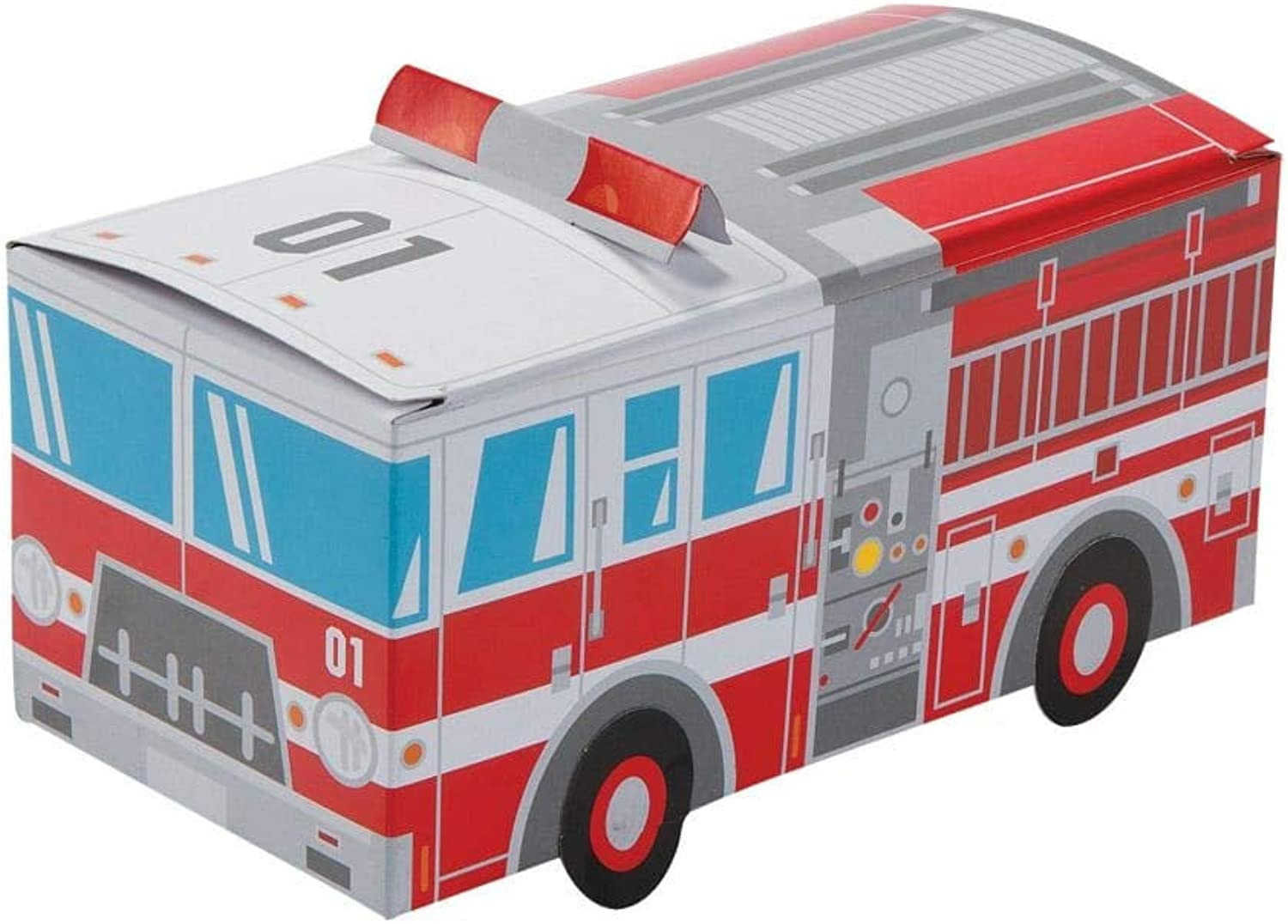 Fire Truck Party Favor Treat Boxes  12 ct