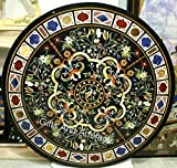 Mesa de comedor redonda de mármol verde con patrón floral Inlay Art Mesa de cocina para el hogar de 60 pulgadas