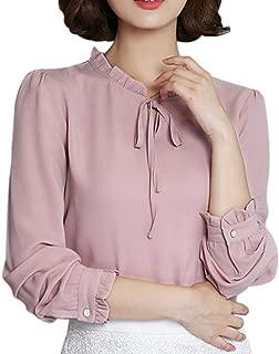 Boomboom Women Ruffles Chiffon Bow Long Sleeve Casual Shirt Formal Office Blouse