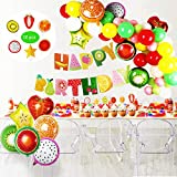 Tutti Frutti Party Decorations Set pour Les Enfants, bannière de Joyeux Anniversaire, Feuille de Fruits Balloons Cupcake Toppers pour Anniversaire Baby Shower Fruit Theme Décor