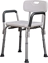 HOMCOM Adjustable Shower Bench, Portable Medical Stool with Adjustable Back and Armrest for Mobility
