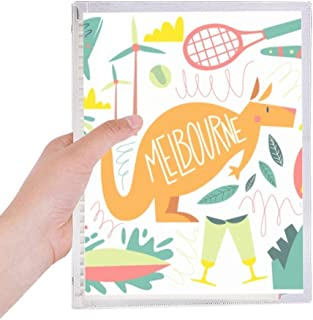Melbourne Australia Kangaroo Tennis Surfing Notebook Loose-leaf Spiral Refillable Journal
