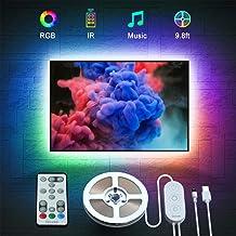 چراغهای LED LED ، چراغهای LED نواری Govee 9.8ft با از راه دور برای تلویزیون 46-60 اینچی ، 32 رنگ 7 حالت صحنه صحنه نورپردازی با لهجه نوار موسیقی همگام سازی چراغهای روشنایی تلویزیون با 3M نوار و 5 کلیپ پشتیبانی ، USB