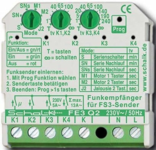 Schalk Funk-Empfängerschalter UP FE3 Q2 4-Kanal Funkempfänger 4046929101349