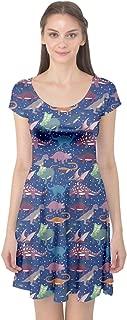 Womens Dinosaur Silhouettes Stylish Pattern Cap Sleeve Dress, XS-5XL