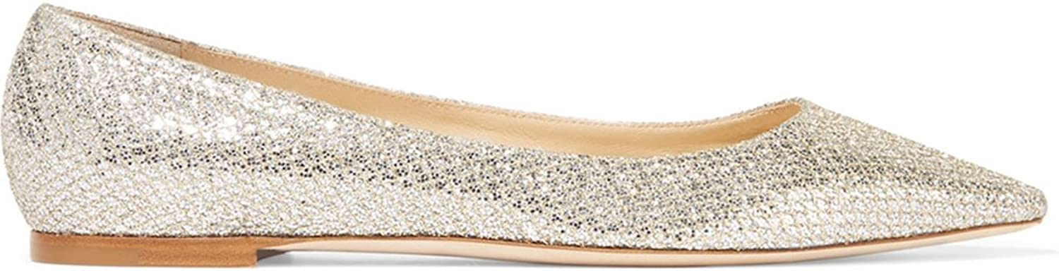 TDA Women's Leisure Pointed Toe Glitter Comfort Flat shoes
