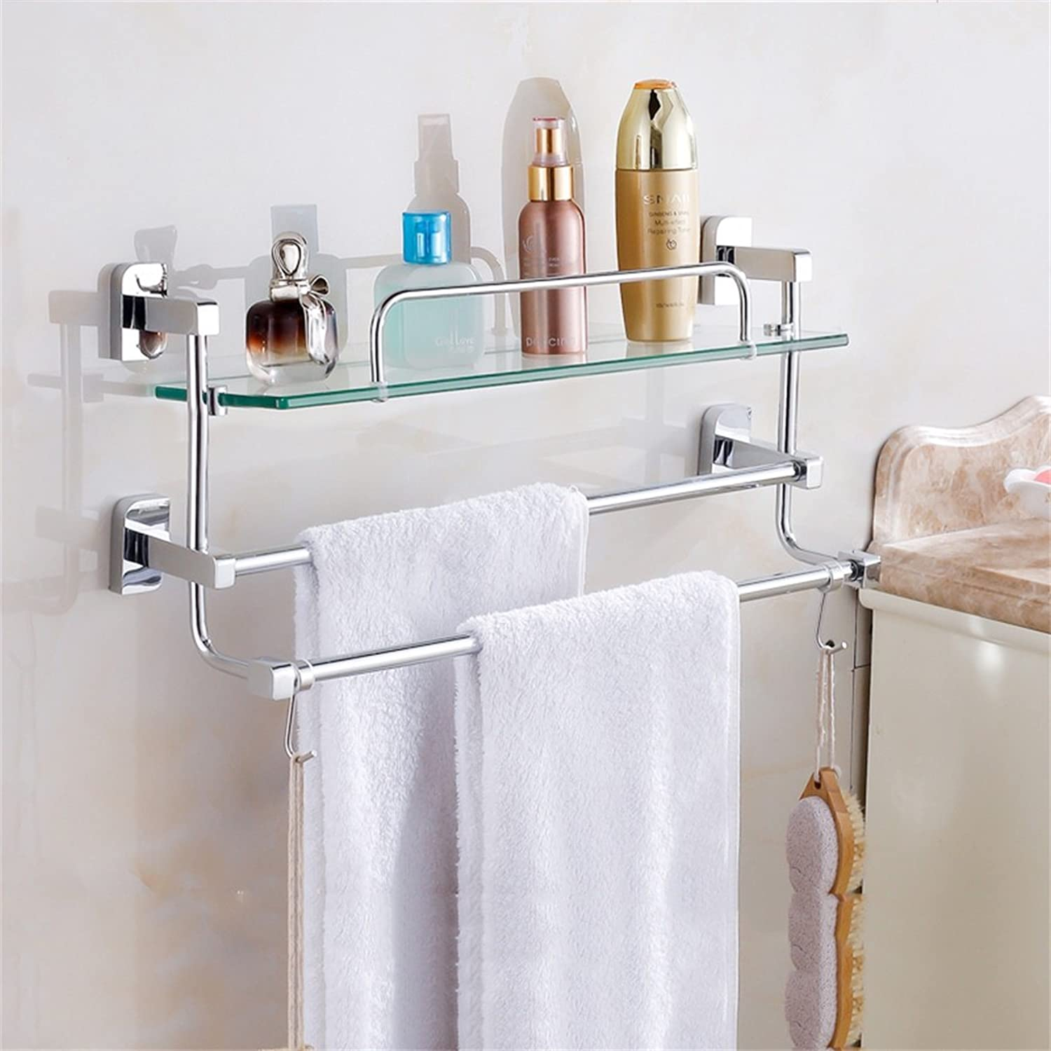 Cpp Shelf Bathroom Shelf Bathroom Shelf Glass Bathroom Wall mountings Safety Rounded Corners (Size   L 41CM)