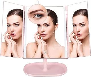 化粧鏡 DAOEJP 鏡 女優ミラー LEDライト 卓上 鏡 10倍拡大鏡付き 折りたたみ 角度自由調整 180°回転 電池式 USB充電