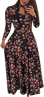 ROCMKL Polyester Women's Long Sleeve Print O Neck Watermark Digital Button Down Long Dress