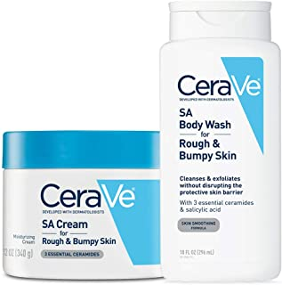 CeraVe Renewing Salicylic Acid Daily Skin Care Set | Contains CeraVe SA Cream and Body Wash for Rough and Bumpy Skin | Fragrance Free