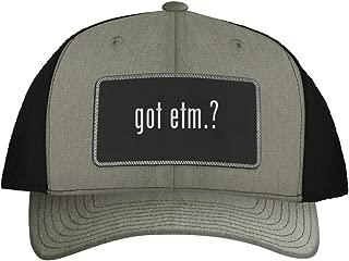One Legging it Around got ETM.? - Leather Black Metallic Patch Engraved Trucker Hat