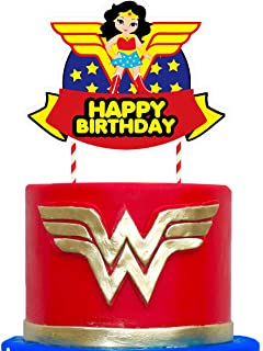 1 Wonder Woman Cake Topper Birthday Cake Decorations for Bday Party