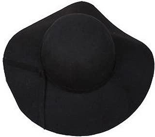 Donna Pierce 100% pure wool caps fedoras Hofn's stetson beach floppy wide brim sun hat foldable with tie for women autumn-summer Black