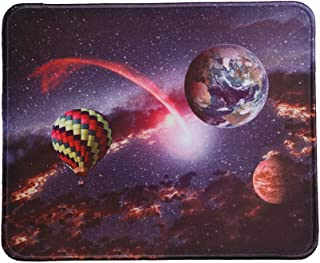 MissOwl Mouse Pad Rubber Base Mat Stitched Edges for Desktop Computer Notebook Office Home Working Desk Decor Hot Air Balloon